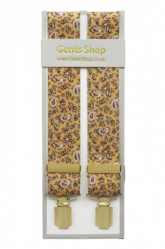 Gold Mens Trouser Braces with Paisley Design - Available in 3 Sizes